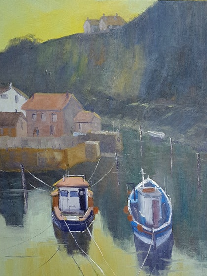 (CreativeWork) Late Afternoon at Staithes UK by Rod Moore. oil-painting. Shop online at Bluethumb.