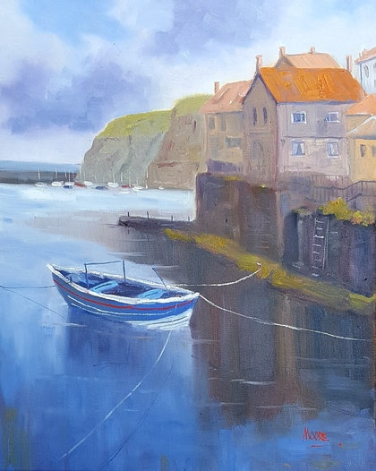 (CreativeWork) Staithes on North Yorkshire Coast by Rod Moore. oil-painting. Shop online at Bluethumb.