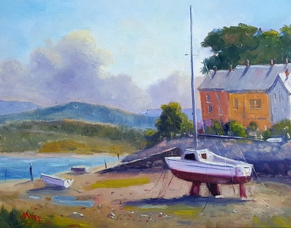 (CreativeWork) Low Tide In Welsh Village by Rod Moore. oil-painting. Shop online at Bluethumb.