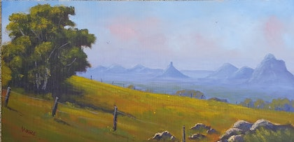 (CreativeWork) Morning Haze Across The Glass House Mountains by Rod Moore. arcylic-painting. Shop online at Bluethumb.