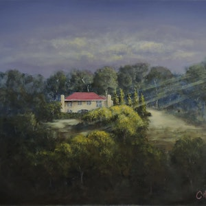 (CreativeWork) Riverside Homestead Tasmania by Colin Hadfield. arcylic-painting. Shop online at Bluethumb.