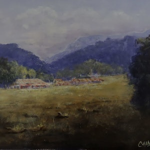 (CreativeWork) Rural Homestead and Shearing Shed by Colin Hadfield. arcylic-painting. Shop online at Bluethumb.