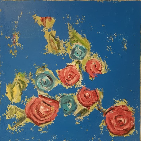(CreativeWork) Roses by Penny Rulyancich. Acrylic Paint. Shop online at Bluethumb.