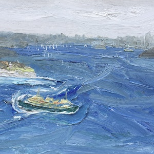 (CreativeWork) Turning to ride the swell-South head-Plein air by David K Wiggs. oil-painting. Shop online at Bluethumb.