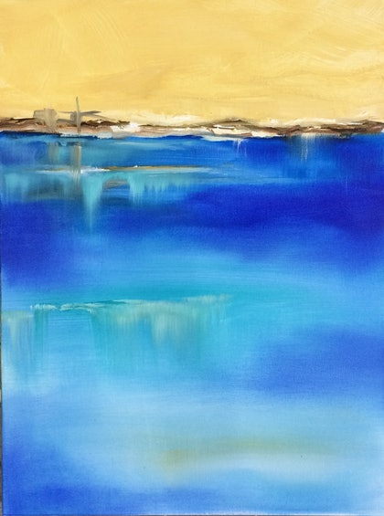 (CreativeWork) Sapphire bay 2 by Frank Martin. oil-painting. Shop online at Bluethumb.