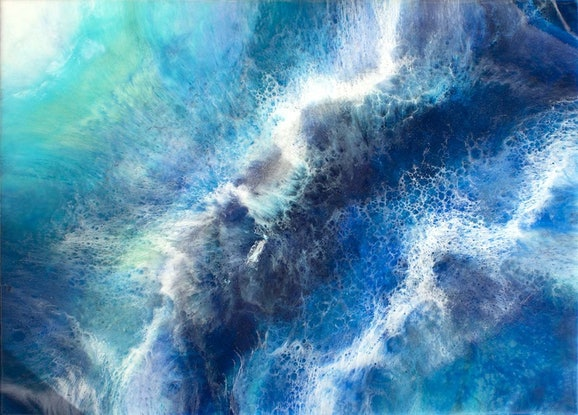 (CreativeWork) Turbulant Waters by Gayle Reichelt. Resin. Shop online at Bluethumb.