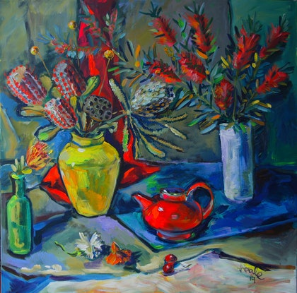 (CreativeWork) Banksias by Katerina Apale. Acrylic Paint. Shop online at Bluethumb.