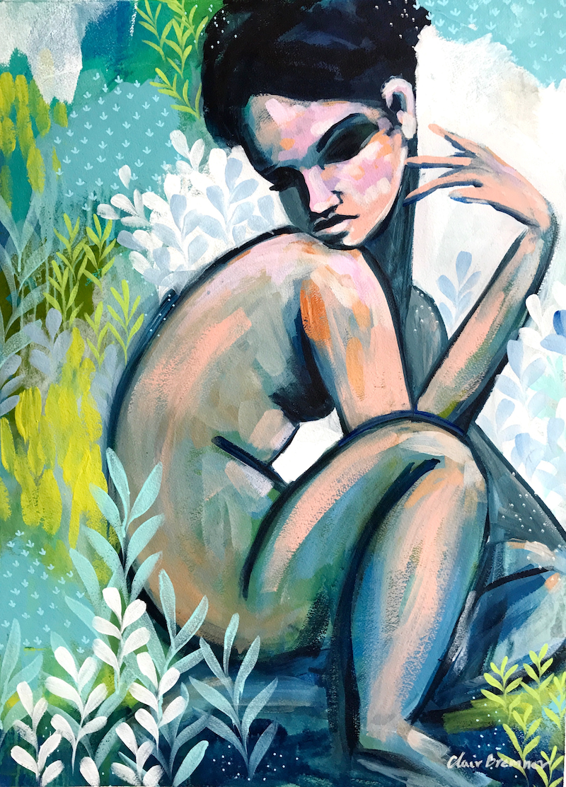 (CreativeWork) Sitting Still by Clair Bremner. arcylic-painting. Shop online at Bluethumb.