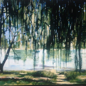 (CreativeWork) Bum's Bay by Leanne Manns. arcylic-painting. Shop online at Bluethumb.