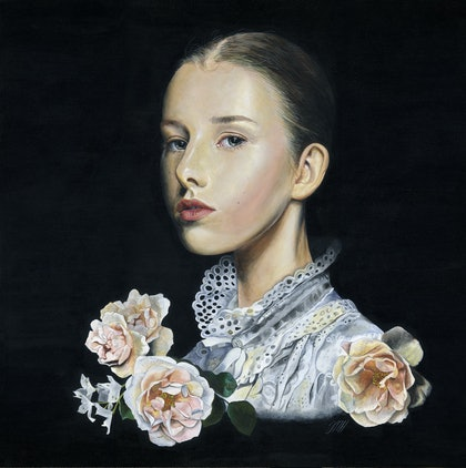 (CreativeWork) Baroque romance by Melissa Hartley. arcylic-painting. Shop online at Bluethumb.