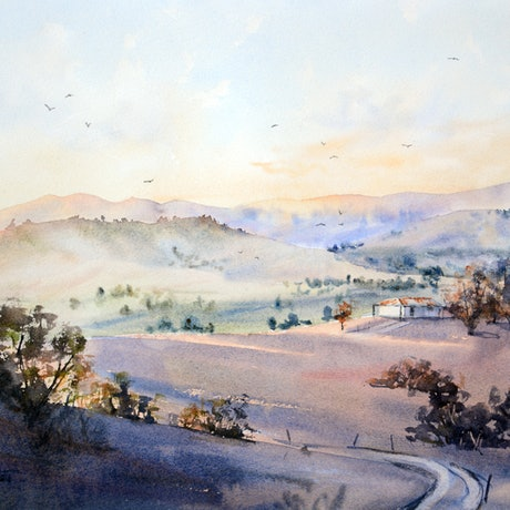 (CreativeWork) Mountain Vista Sunrise by Chrysovalantou Mavroudis. Watercolour Paint. Shop online at Bluethumb.