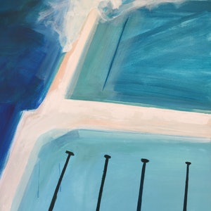 (CreativeWork) Bondi Icebergs by TeMoana .. arcylic-painting. Shop online at Bluethumb.
