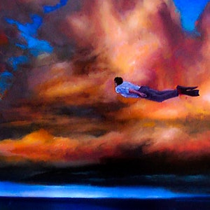 (CreativeWork) Red Sock Skydiving by Paul Robertson. mixed-media. Shop online at Bluethumb.