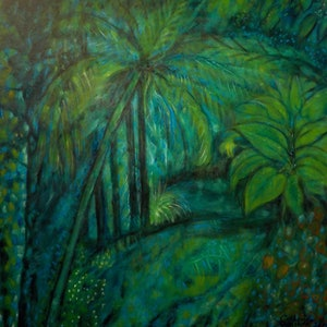 """(CreativeWork) """" Rain in a Tropical  Garden"""" by Catherine Walker. arcylic-painting. Shop online at Bluethumb."""