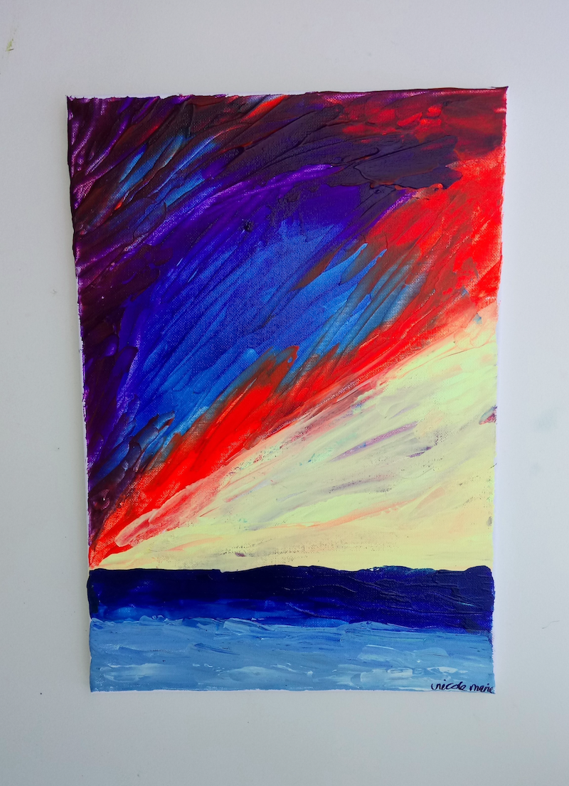 (CreativeWork) Expressionist Sunset Abstract Ready to hang by Nicole Marie. arcylic-painting. Shop online at Bluethumb.