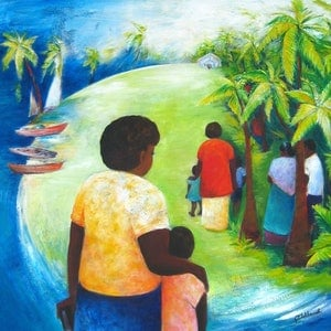 (CreativeWork) Sunday Pacific Islands  by Glenise Clelland. Oil Paint. Shop online at Bluethumb.
