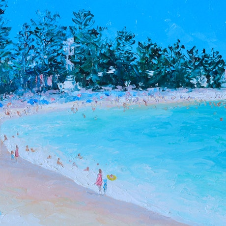 (CreativeWork) Manly Beach in January - Framed by Jan Matson. Oil Paint. Shop online at Bluethumb.