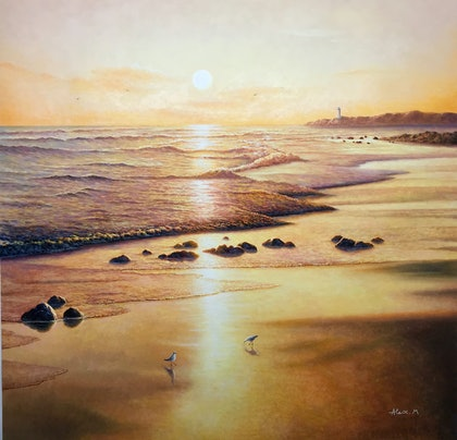 (CreativeWork) Golden Bay by Alex Mo. oil-painting. Shop online at Bluethumb.