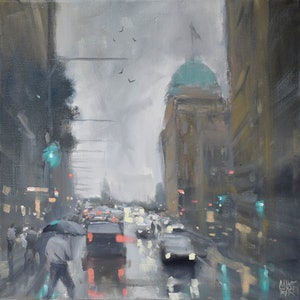 (CreativeWork) Rain on Bridge Street by Mike Barr. oil-painting. Shop online at Bluethumb.