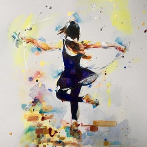 (CreativeWork) Jade Dancing by Skye Stephenson. mixed-media. Shop online at Bluethumb.