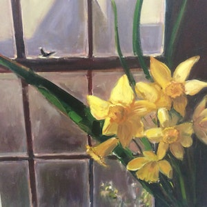 (CreativeWork) Daffodils on show  by Caroline Lawrey. oil-painting. Shop online at Bluethumb.