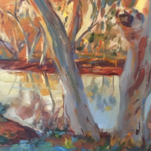 (CreativeWork) Outback billabong  by Caroline Lawrey. oil-painting. Shop online at Bluethumb.