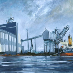 (CreativeWork) Loading grain at Newcastle by Gavin Fry. oil-painting. Shop online at Bluethumb.