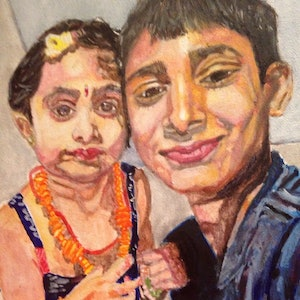 (CreativeWork) Sibling bond by NavaneethaKrishnan (NK) Sundarrajan. arcylic-painting. Shop online at Bluethumb.