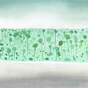 (CreativeWork) Green hill 1  by John Graham. watercolour. Shop online at Bluethumb.