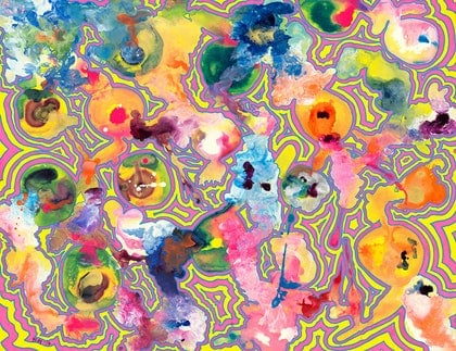 (CreativeWork) Mind Map 'Sugar Rush' by Bay The Artist. arcylic-painting. Shop online at Bluethumb.