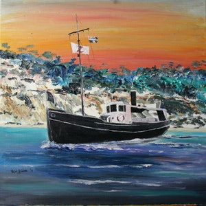 (CreativeWork) MV KRAIT OFF FRASER ISLAND by Ralph Coles. oil-painting. Shop online at Bluethumb.