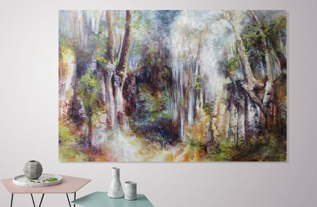 (CreativeWork) Acknowledgement of Country (left panel) by De Gillett Cox. Acrylic Paint. Shop online at Bluethumb.