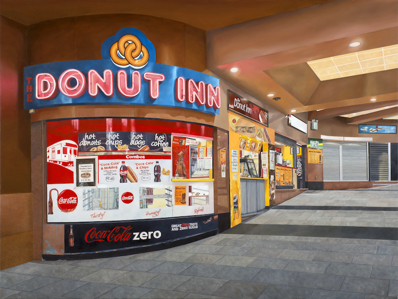 (CreativeWork) 'Last Donut Of The Night' by Donovan Christie. Oil Paint. Shop online at Bluethumb.