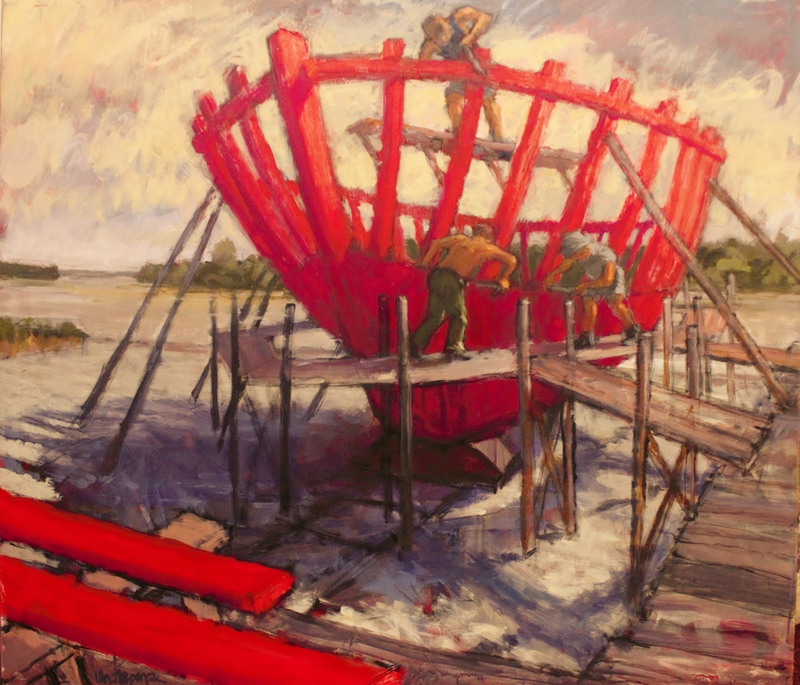 (CreativeWork) Trawler Construction, Taree. by Ian Chapman. Acrylic Paint. Shop online at Bluethumb.