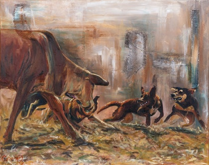 (CreativeWork) Tussle by Catherine Clark Dowden. mixed-media. Shop online at Bluethumb.