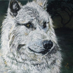 (CreativeWork) Spirit - White Wolf by Julie Hollis. arcylic-painting. Shop online at Bluethumb.