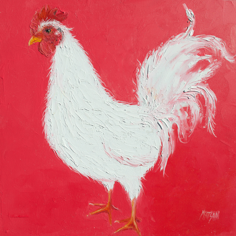 (CreativeWork) Ranger the rooster by Jan Matson. oil-painting. Shop online at Bluethumb.