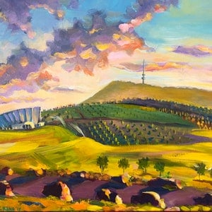 (CreativeWork) Spring Morning at the National Arboretum Canberra by Valentyna Crane. acrylic-painting. Shop online at Bluethumb.