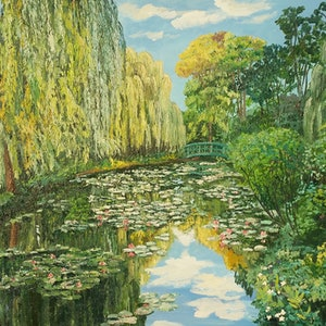 (CreativeWork) Monet's Lily Pond Reflections  by Donna Gibb. #<Filter:0x00005589e89947e8>. Shop online at Bluethumb.