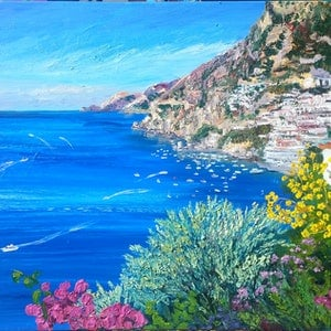(CreativeWork) Positano by Donna Gibb. oil-painting. Shop online at Bluethumb.