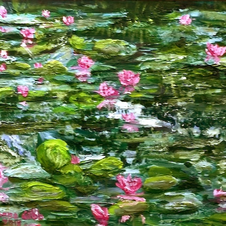 (CreativeWork) Monet's Pink Lilies by Donna Gibb. Oil Paint. Shop online at Bluethumb.