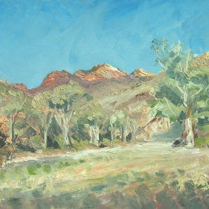 (CreativeWork) Parachilna Gorge, Flinders Ranges by Roland Weight. oil-painting. Shop online at Bluethumb.
