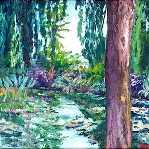(CreativeWork) Monet's Willow Tree by Donna Gibb. oil-painting. Shop online at Bluethumb.