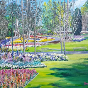 (CreativeWork) Queens Park, Carnival of flowers by Donna Gibb. oil-painting. Shop online at Bluethumb.