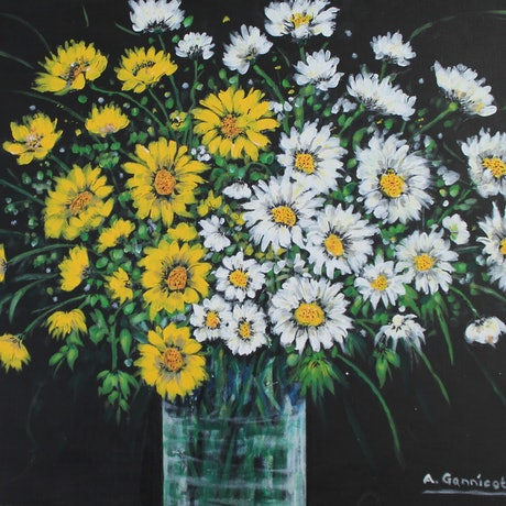 (CreativeWork) Seina Daisies by Angela Gannicott. Acrylic Paint. Shop online at Bluethumb.
