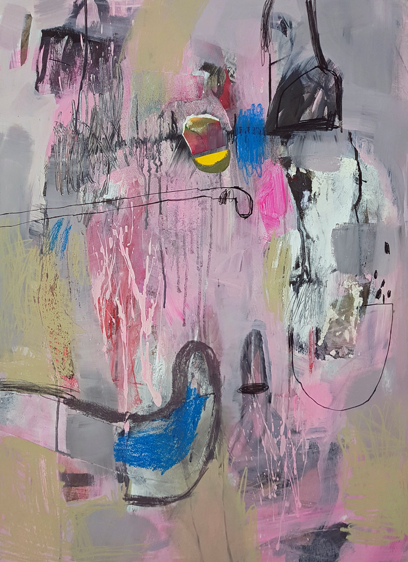 (CreativeWork) Composition in Pink by Elizabeth Wojciak. mixed-media. Shop online at Bluethumb.