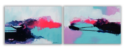 (CreativeWork) Harbour Noise 1&2 by Jill Bryant. arcylic-painting. Shop online at Bluethumb.