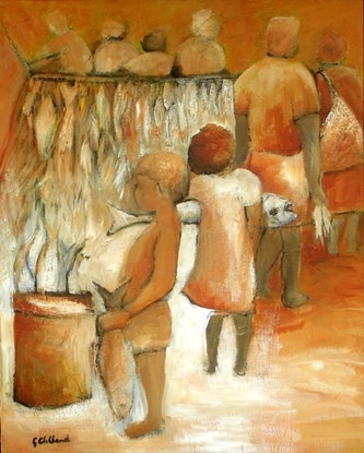 (CreativeWork) At the Fish Markets  by Glenise Clelland. #<Filter:0x00007fa56df0a9f0>. Shop online at Bluethumb.