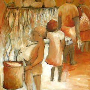 (CreativeWork) At the Fish Markets  by Glenise Clelland. acrylic-painting. Shop online at Bluethumb.