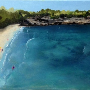 (CreativeWork) The Bay by Amanda Hunt. oil-painting. Shop online at Bluethumb.
